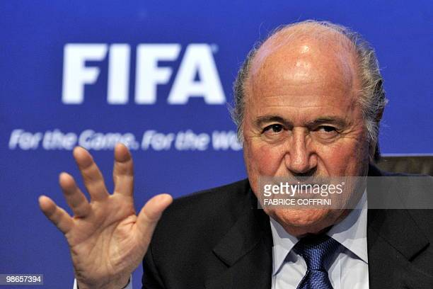 President Sepp Blatter gestures during a press conference on April 23, 2010 at the football's governing body headquarters in Zurich, 48 days before...
