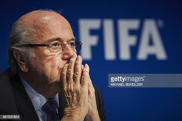 President Sepp Blatter holds a press conference at the FIFA headquarters in Zurich on March 20, 2015 at the end of a two-day meeting to decide the...