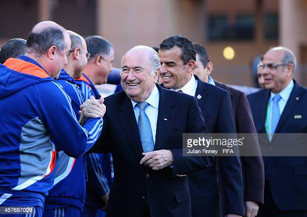 FIFA president Sepp Blatter is seen before the FIFA Club World Cup 5th Place Match between Al Ahly SC and CF Monterrey at the Marrakech Stadium on...