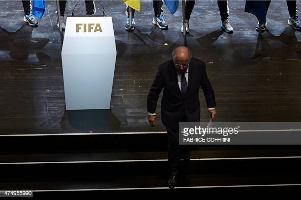 President Sepp Blatter leaves the stage after delivering his speech during the opening ceremony of the 65th FIFA Congress in Zurich on May 28 2015...