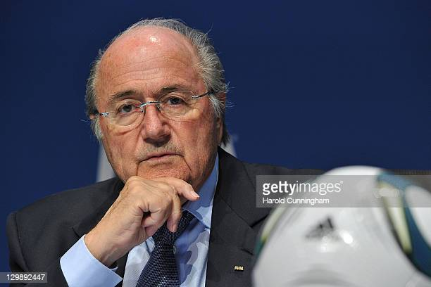 FIFA president Sepp Blatter looks on as he delivers a speech during a press conference held after the FIFA Executive Committee Meeting at the FIFA...