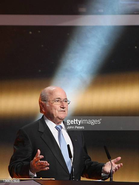President Sepp Blatter speaks at the FIFA Ballon d'Or Gala 2011 at Kongresshaus on January 9 2012 in Zurich Switzerland