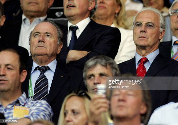 President Sepp Blatter watches the action with Franz Beckenbauer the President of Germany 2006 Organising Committee during the FIFA World Cup Germany...