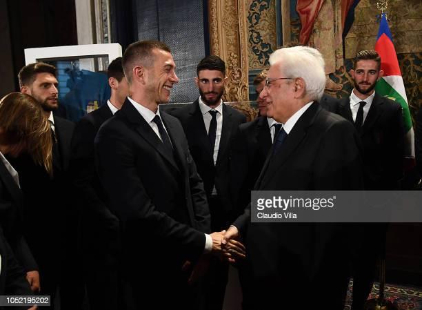President Sergio Mattarella and Federico Bernardeschi greets during Italy Team meets President Sergio Mattarella on October 15 2018 in Rome Italy