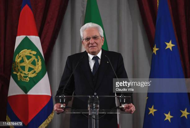 President Sergio Mattarella attends Team's Delegations Meet President Sergio Mattarella at Palazzo del Quirinale on May 14, 2019 in Rome, Italy.