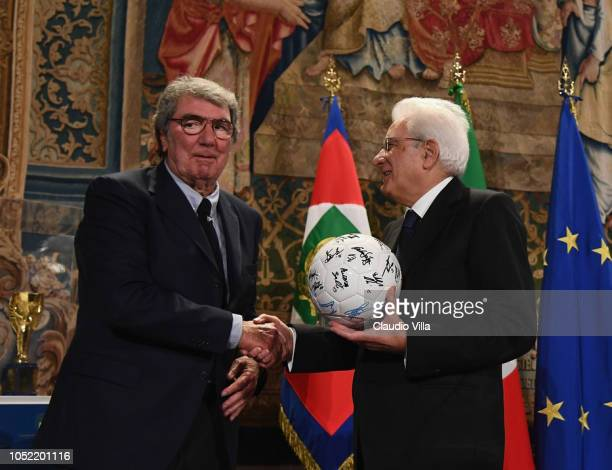 President Sergio Mattarella greets Dino Zoff during Italy Team meets President Sergio Mattarella on October 15 2018 in Rome Italy