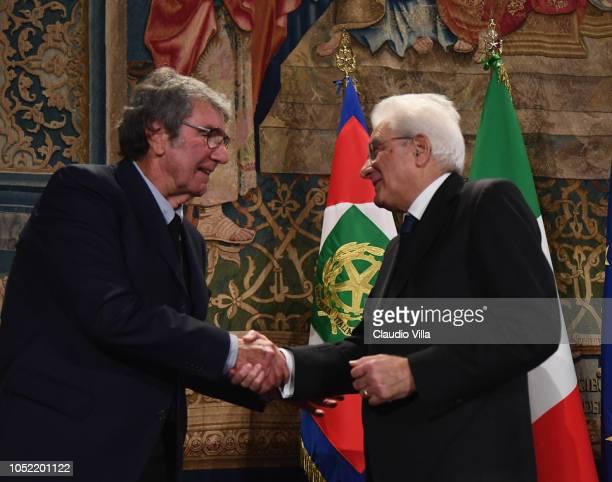 President Sergio Mattarella greets Dino Zoff during Italy Team meets President Sergio Mattarella on October 15, 2018 in Rome, Italy.
