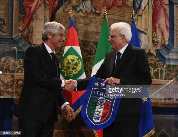 President Sergio Mattarella greets Gianni Rivera during Italy Team meets President Sergio Mattarella on October 15 2018 in Rome Italy