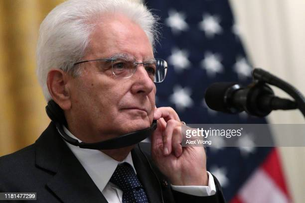 President Sergio Mattarella of Italy listens during a joint news conference with U.S. President Donald Trump in the East Room at the White House...