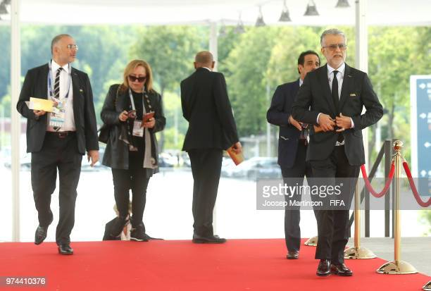President Shaikh Salman bin Ebrahim Al Khalifa arrives at the stadium as he attends the 2018 FIFA World Cup Russia group A match between Russia and...