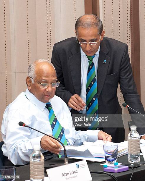 President Sharad Pawar and CEO Haroon Lorgat talk during the 2011 ICC Annual Conference at W Hotel on June 28 2011 in Hong Kong China