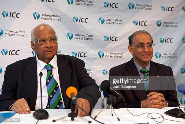 President Sharad Pawar and Chief Executive Haroon Lorgat attend a press conference at the International Cricket Council headquarters on October 11...