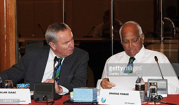 President Sharad Pawar and ICC Vice President Alan Isaac attend the ICC Executive Board meeting convened during the ICC Annual Conference held at the...
