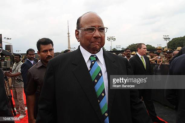 President Sharad Pawar at the Red Carpet during the ICC Annual Awards on October 6 2010 in Bangalore India