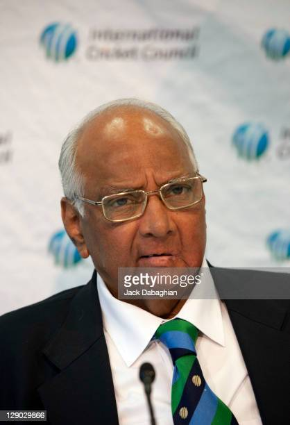 President Sharad Pawar attends a press conference at the International Cricket Council headquarters on October 11 2011 in Dubai United Arab Emirates
