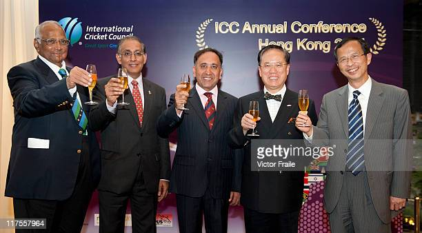 ICC President Sharad Pawar ICC CEO Haroon Lorgat Hong Kong Cricket Association President Shahzada Ahmed Hong Kong Chief Executive Donald Tsang and...