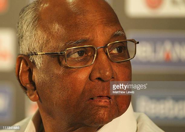 President Sharad Pawar talks to the media ahead of the 2011 ICC World Cup Final at the Wankhede Stadium on April 1 2011 in Mumbai India