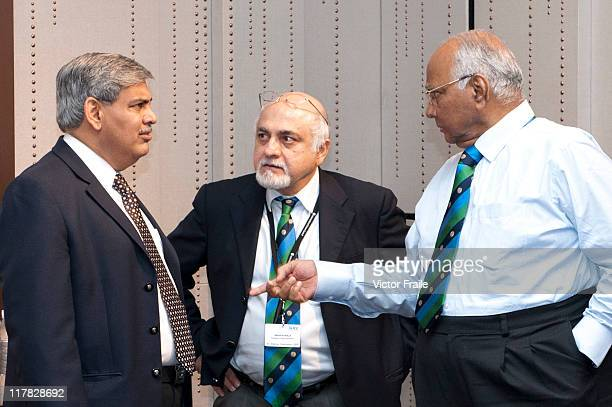 President Sharad Pawar talks with Shashank Manohar and Imran Khwaja during the 2011 ICC Annual Conference at W Hotel on June 28 2011 in Hong Kong...
