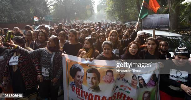 President Sharmistha Mukherjee and AIMC National Coordinator of Priyadarshini Aditi Singh with supporters of Priyadarshini team under Delhi Pradesh...