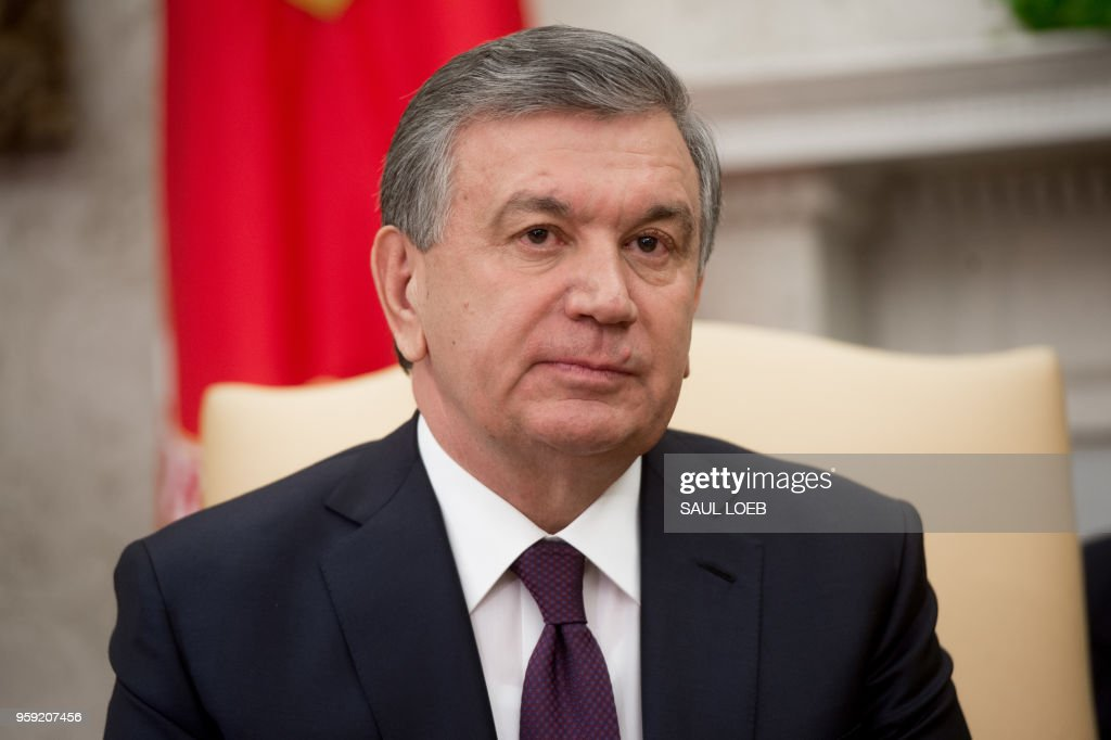 President Shavkat Mirziyoyev of Uzbekistan speaks during a meeting with US President Donald Trump in the Oval Office of the White House in Washington, DC, May 16, 2018.