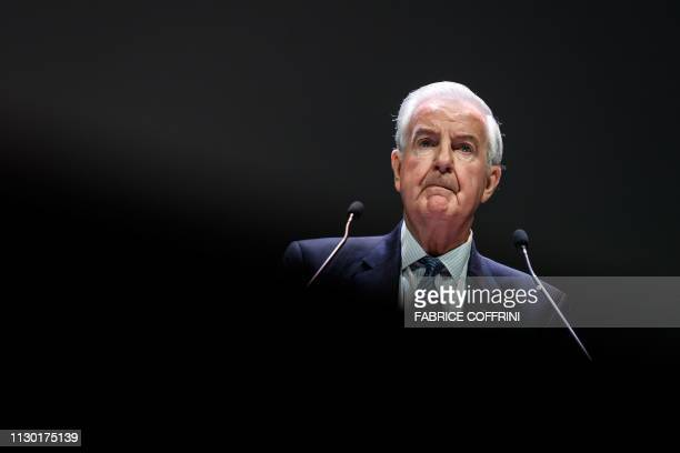 President Sir Craig Reedie delivers a speech during the annual symposium of The World Anti-Doping Agency on March 13, 2019 in Lausanne.