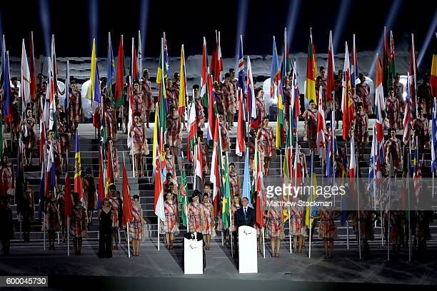 IPC president Sir Philip Craven addresses the audience during the Opening Ceremony of the Rio 2016 Paralympic Games at Maracana Stadium on September...