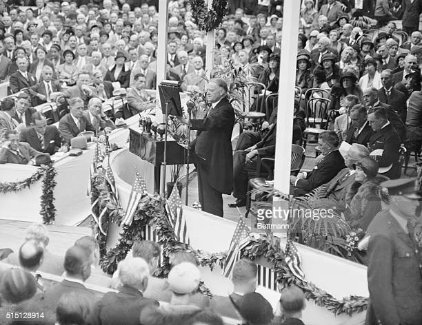 President Speaking at Post Office Ceremonies. President Hoover is seen as he addressed the distinguished gathering at Washington, D.C., during the...