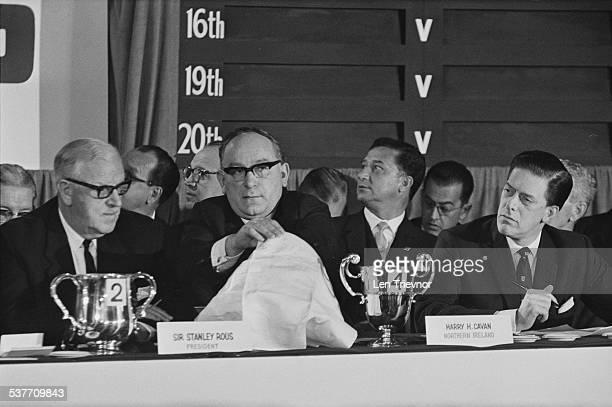 President Stanley Rous president of the Irish Football Association Harry Cavan and Football Association President Lord Harewood at the draw for the...