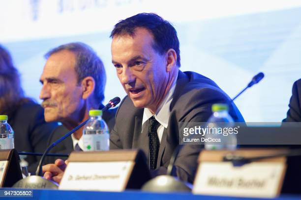 President Stephan Fox addresses during the AIMS General Assembly on day three of the SportAccord at Centara Grand Bangkok Convention Centre on April...