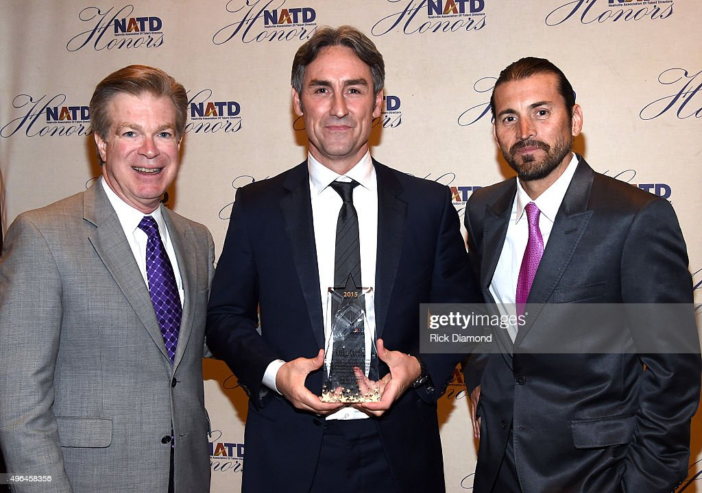 President Steve Tolman, Creator and Host of American Pickers Mike Wolfe, and director/owner of Tacklebox Films Shaun Silva attend the NATD Honors Gala on November 9, 2015 in Nashville, Tennessee.