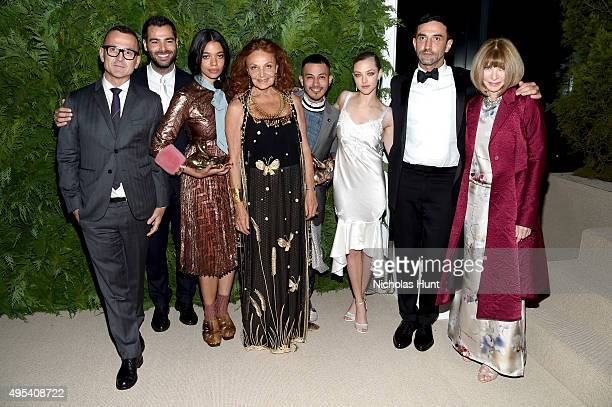 CFDA President Steven Kolb designer and winner Jonathan Simkhai designer and winner Aurora James of Brother Vellies designer Diane von Furstenberg...