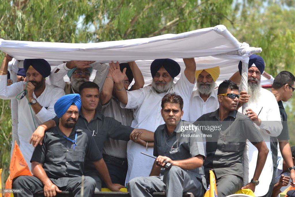 SAD president Sukhbir Badal Akali leader Balwinder Singh Bhundar and SAD candidate Naib Singh Kohar during road show ahead of Shakhkot Bypoll near...