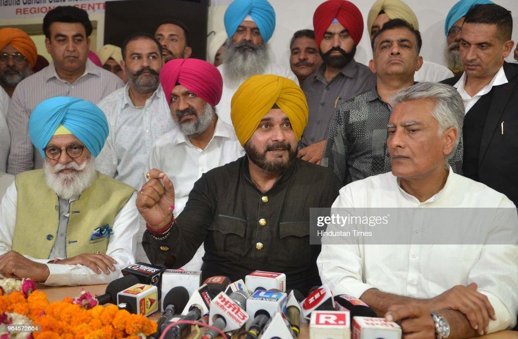 PPCC president Sunil Jakhar local bodies minister Navjot Singh Sidhu former cabinet minister Rana Gurjit Singh along with congress candidate Hardev...