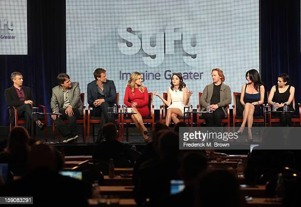 President, SYFY Mark Stern, Executive Producer Kevin Murphy, Actors Grant Bowler, Julie Benz, Stephanie Leonidas, Tony Curran, Jaime Murray, and Mia...