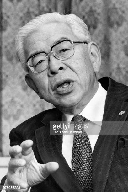 NEC President Tadahiro Sekimoto speaks during the Asahi Shimbun interview at the company headquarters on December 26 1988 in Tokyo Japan