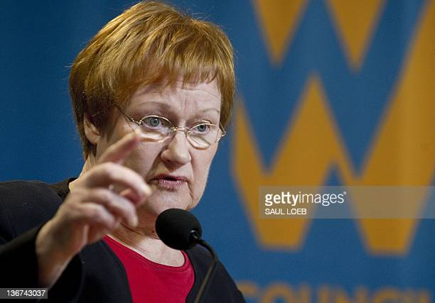 President Tarja Halonen of Finland speaks during a Council of Women World Leaders event at the Woodrow Wilson International Center for Scholars in...