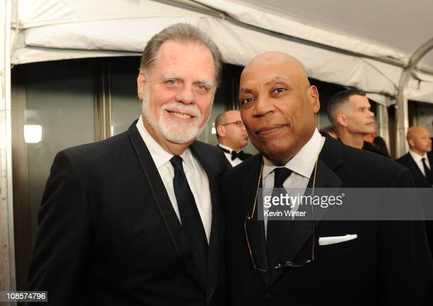 President Taylor Hackford and DGA First Vice President Paris Barclay attends the 63rd Annual Directors Guild Of America Awards cocktail reception...