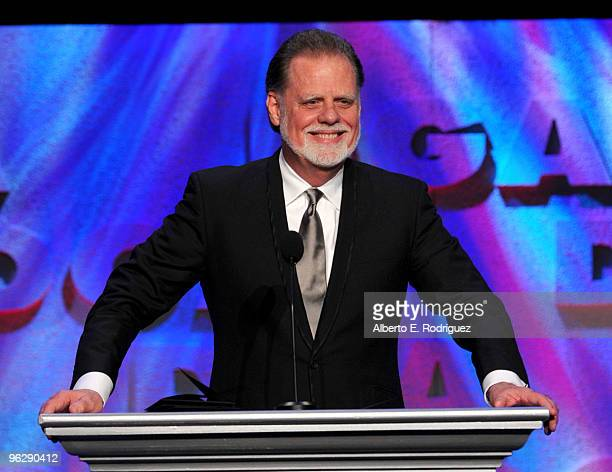 President Taylor Hackford speaks onstage during the 62nd Annual Directors Guild Of America Awards at the Hyatt Regency Century Plaza on January 30...