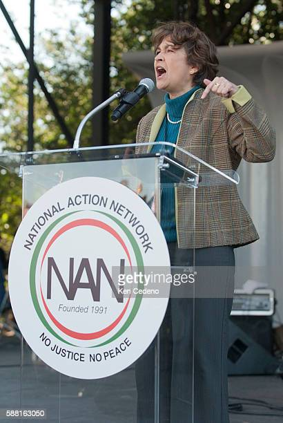 NOW President Terry O'Neill speaks during a rally and march for jobs and justice 'From the Emancipator to the Liberator' in Washington DC October 15...