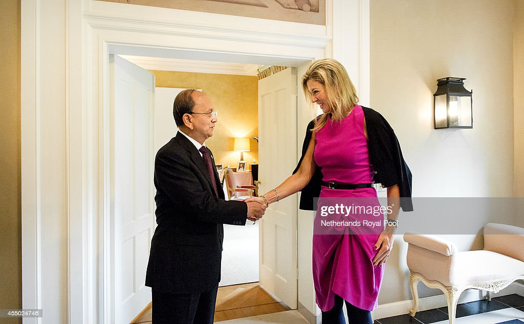 President Thein Sein of Myanmar is received by Queen Maxima of the Netherlands at her home ,The Eikenhorst, during his two-day visit on September 9, 2014 in Wassenaar, The Netherlands. The visit aims to strenghten bilateral ties and the promotion of cooperation between the two countries.