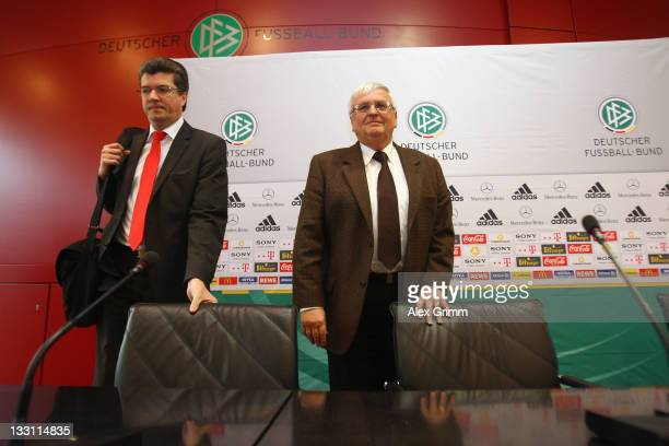 President Theo Zwanziger and Herbert Fandel head of the DFB referee commission arrive for a press conference on the German Refereeing at the...