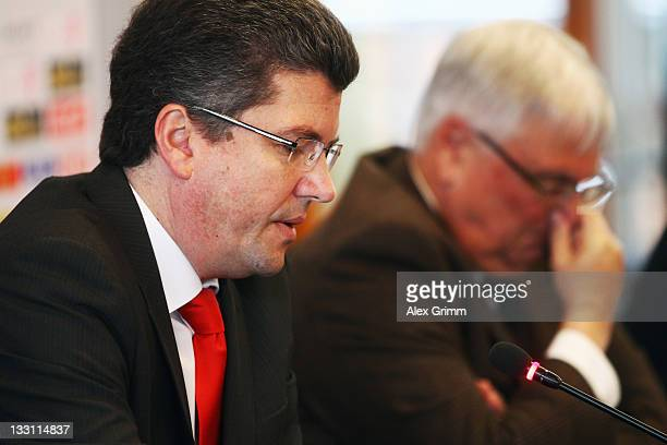 President Theo Zwanziger and Herbert Fandel head of the DFB referee commission attend a press conference on the German Refereeing at the headquarter...