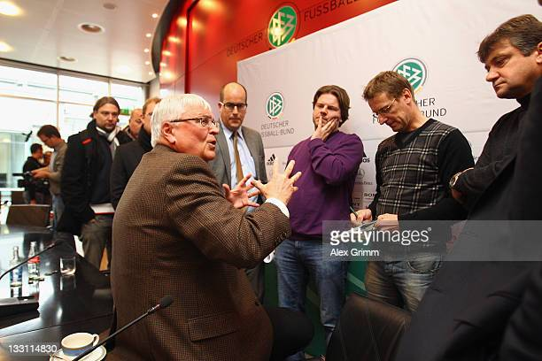 President Theo Zwanziger discusses with journalists after a press conference on the German Refereeing at the headquarter of the German Football...