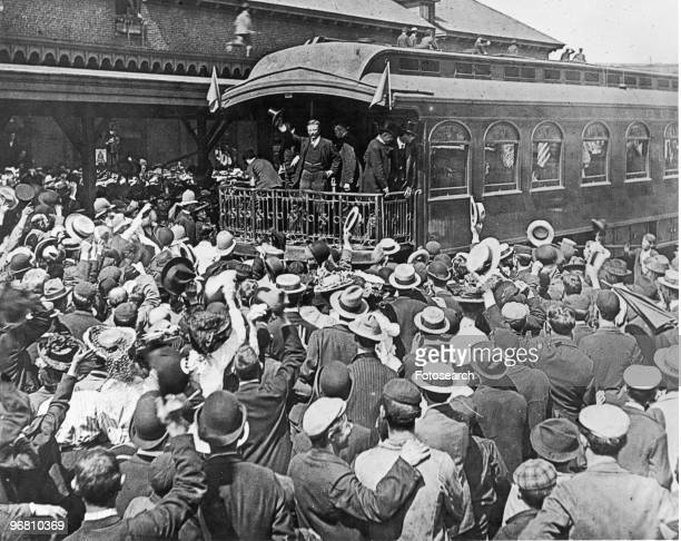 US President Theodore Roosevelt addressing a crowd from the back of a train at South Lawrence Train Station Lawrence Massachusetts USA 1902