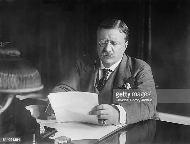 US President Theodore Roosevelt at Desk Washington DC USA circa 1906