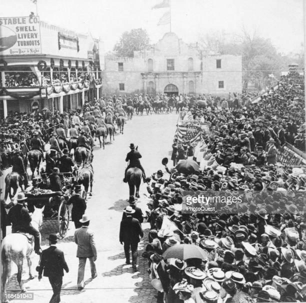 President Theodore Roosevelt riding through the Alamo Plaza San Antonio Texas April 1 1905