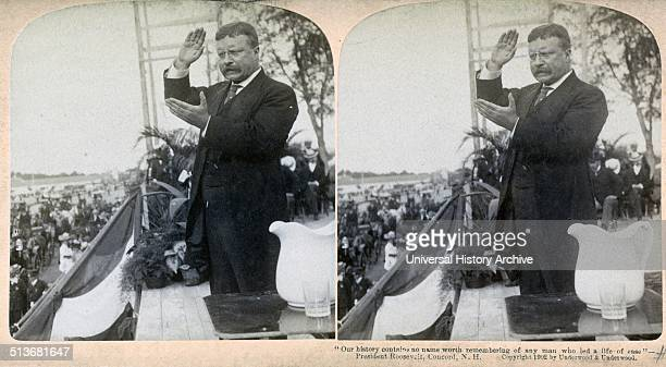 US President Theodore Roosevelt speaking at a political rally 1902