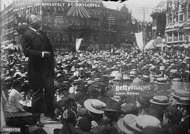 President Theodore Roosevelt speaks of the US Navy to a crowd gathered in Haverhill, Massachussetts, August 26, 1902.