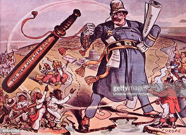 US President Theodore Roosevelt's New Diplomacy 'Speak Softly and Carry a Big Stick' Puck Political Cartoon 1901