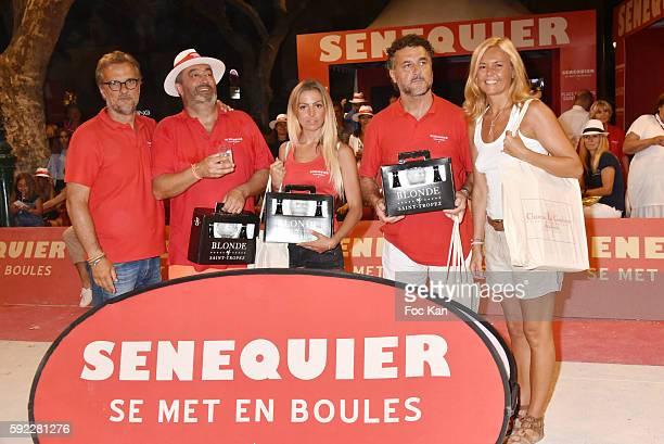 President Thierry Bourdoncle from Senequier petanque champion Kevin Malbec Hillary Vanderosieren Zvonko Radnic and Ariane de senneville attend...